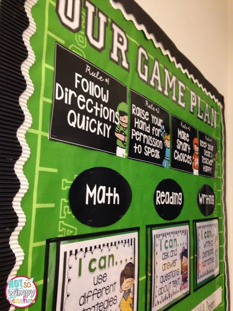 BTS in a FLASH! Decor. Sports themed focus board that displays classroom rules, I can statements, character traits, weekly story and vocabulary. All in a clean eye pleasing format.