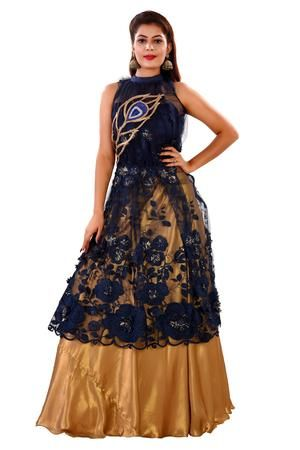 44c6e39c5e059d Navy blue and Gold Crop Top Style Lehenga Featured in Georgette and Net