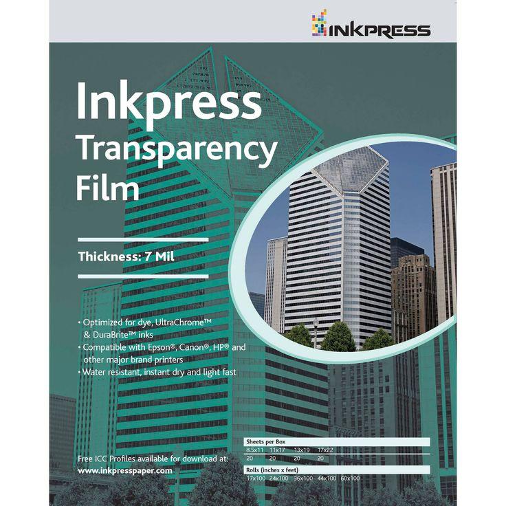 """Inkpress Media Transparency Film for Inkjet Printers (8.5 x 11"""", 5 Sheets)"""