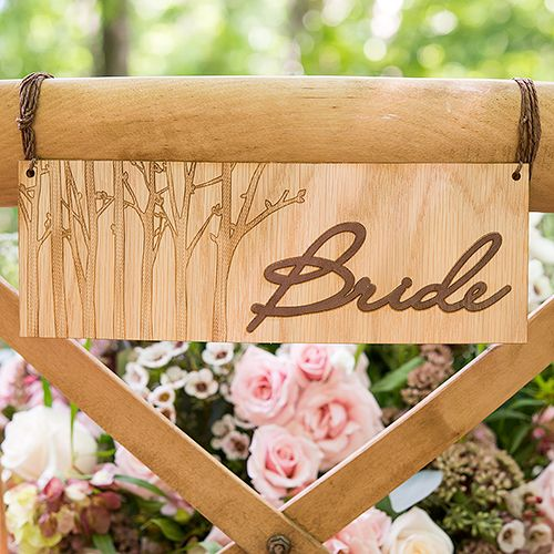 Bride and Groom Wood Signs http://www.weddingbelles.ca/collections/new-wedding-decor-for-spring-summer-2015/products/wood-veneer-bride-and-groom-chair-markers #wedding2015 #weddingideas #weddinginspiration #weddingsigns