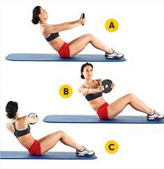 Abdominais oblíquos Para este exercício, recomendamos que use um peso de poucos quilos ou uma bola. Isso ajudará a manter a postura e fará com que seu corpo exerça a força necessária da maneira adequada. Sobre um colchonete de exercícios, sente-se segurando o peso ou bola à sua frente e com os braços esticados, pernas ligeiramente flexionadas, planta dos pés bem apoiadas e costas em um ângulo de 45 graus para trás. Gire apenas a cintura para levar o peso ou bola para a direita. Volte à…