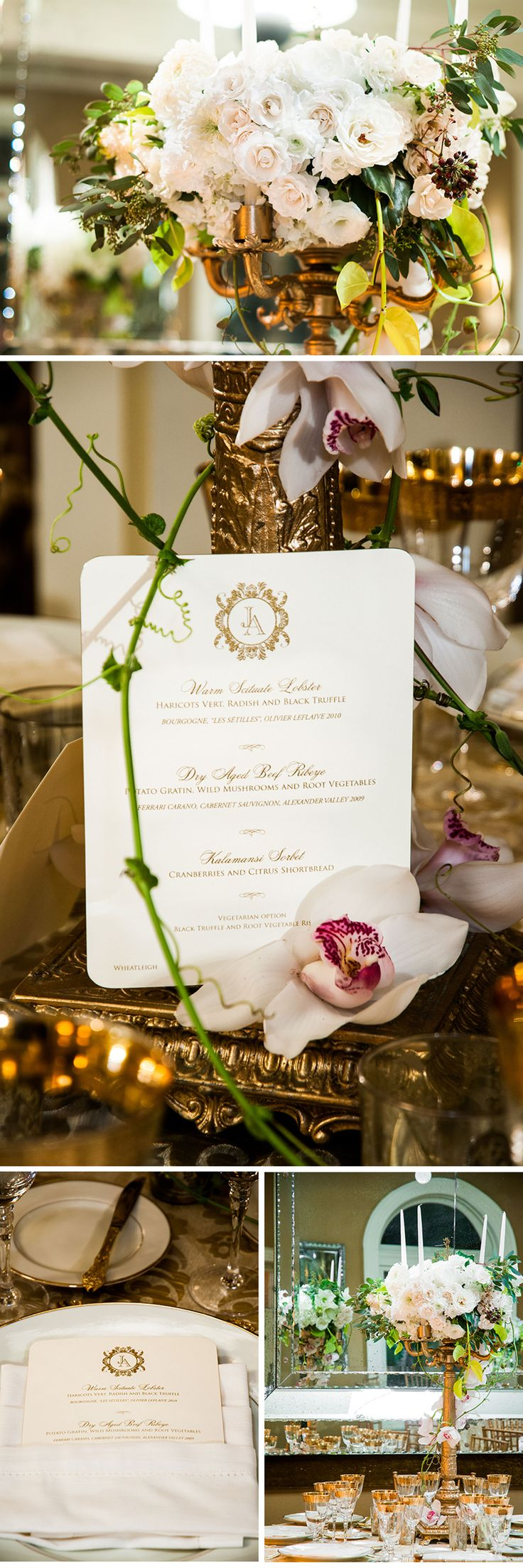 Luxurious Winter Wedding. As seen in Ceci Style. #wedding #table #winter #gold #green #tabletop