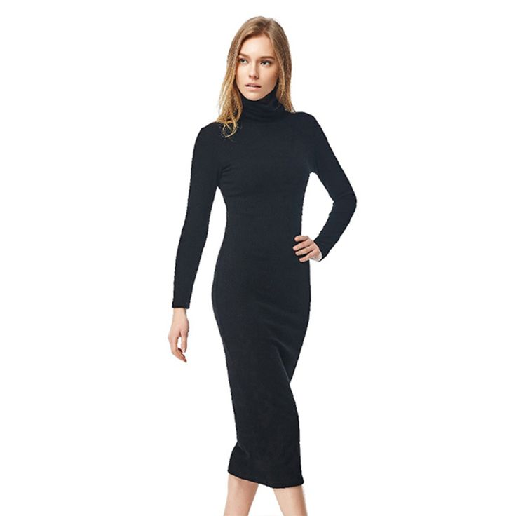 Online Buy Wholesale long sleeve turtleneck maxi dress from China