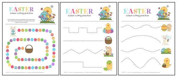 Easter Scissor Cutting Practice Sheet preview;  www.makeoversandmotherhood.com