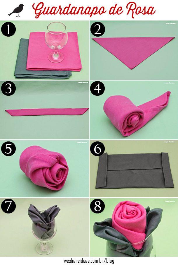 guardanapo de rosa, como dobrar guardanapo, guardanapo de pano, pink napkin, rose napkin, diy ,faça você mesmo