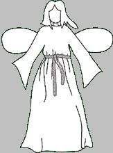 Angel Costume (fabric 60 inches wide as many yards/meters as your actual height. Fold it on bias. Hang the center over top of head, like ghost costume. Cut out a circle wide enough for head. mark up the sides where your arms are hanging. I measure up 1 veritical foot (12 inches) and stitch this line on each side for under each sleeve. finish edges to prevent raveling. use 2 coat hangers and covered them in white tulle for her angel wings.