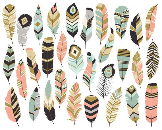 Tribal Feathers Clipart Set of 31 Vector PNG от KennaSatoDesigns