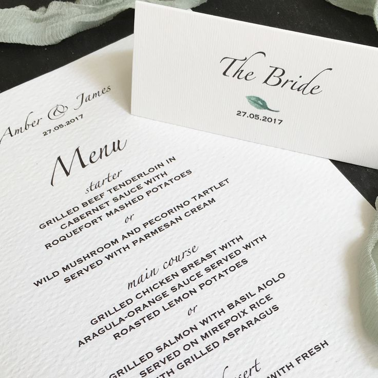how to put guest names on wedding invitations%0A Botanical wedding menu and bride place card printed onto textured card with  watercolour leafy details and