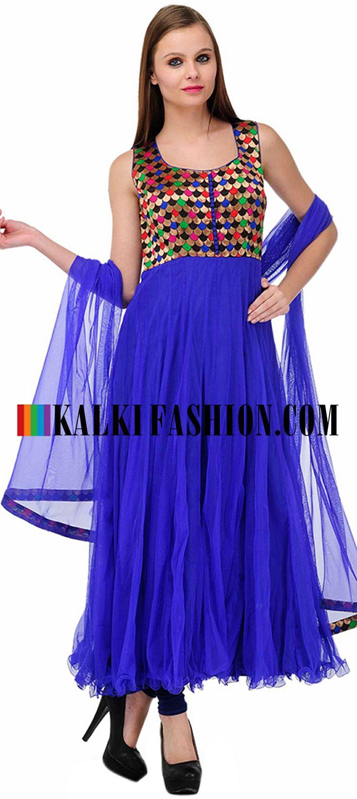 Buy Online from the link below. We ship worldwide (Free Shipping over US$100)  http://www.kalkifashion.com/blue-embellished-anarkali-suit-set.html