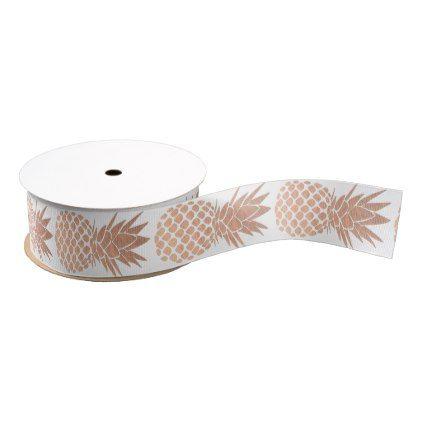 rose gold pineapples grosgrain ribbon - rose gold style stylish diy idea custom
