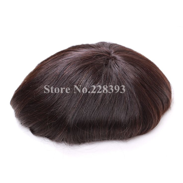 """100% Natural Hair Straight Hair System for Men 8""""* 10"""" Swiss Lace Mens Toupee Free Shipping"""