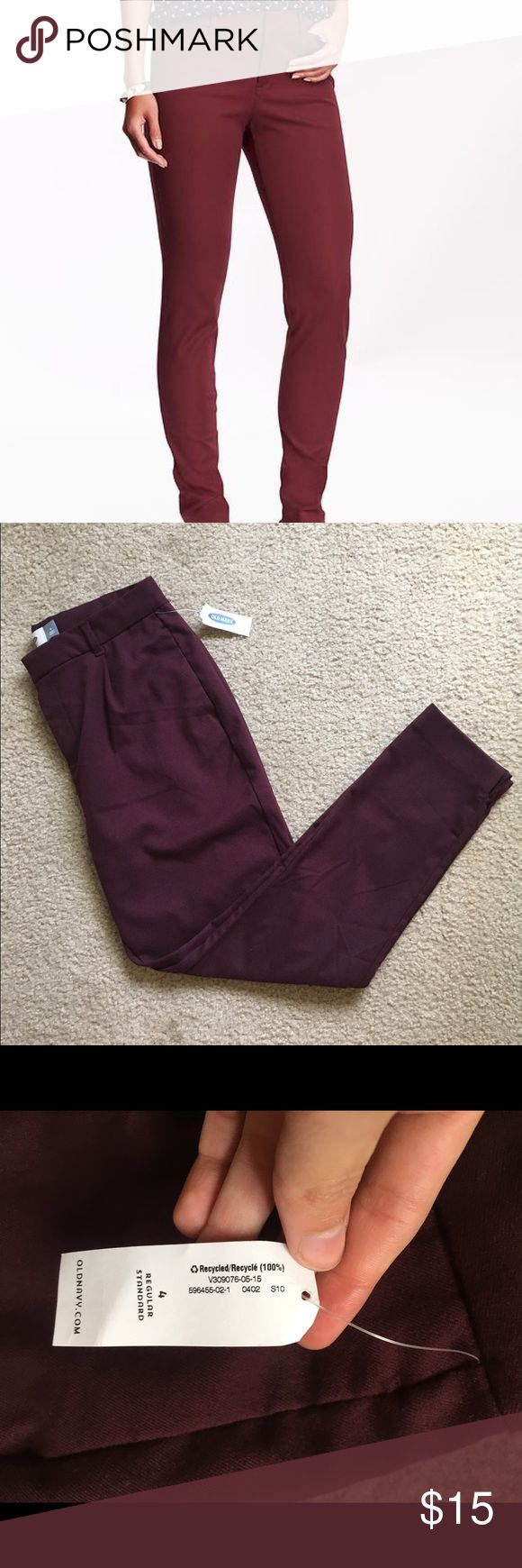 Berry Straight Leg Trousers Size 4 NWT burgundy colored slacks/trousers by Old Navy. No flaws, in perfect condition. Straight leg. Zips up in the front. I ship daily (excluding Sundays and holidays) and I store items in a smoke free, pet free environment. Open to offers; bundles discounted! Old Navy Pants Straight Leg