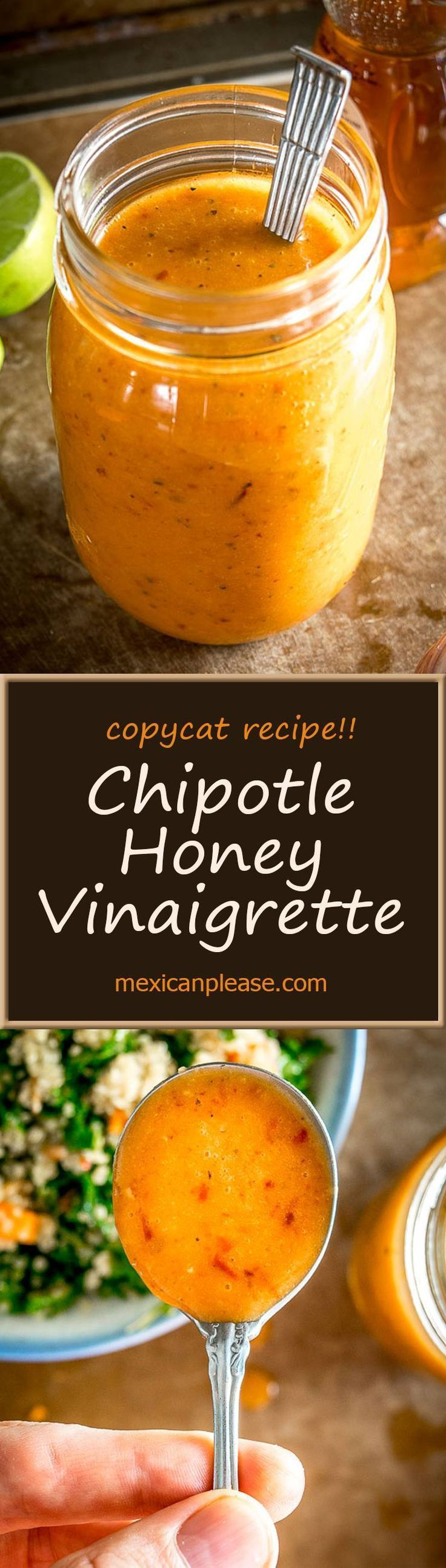 Here's an easy recipe to mimic the awesome Chipotle Honey Vinaigrette from Chipotle Mexican Grill.  It has a sweet, smoky flavor that'll make your salad sing.  A great all-purpose salad dressing!   me (Vegan Dip Mexican)
