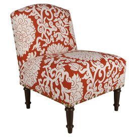"""Floral-print accent chair with a pine wood frame and foam cushioning. Handmade in the USA.  Product: ChairConstruction Material: Solid pine wood, polyurethane and polyester fill foamColor: Athens bittersweetFeatures: Handmade in the USADimensions: 33"""" H x 25"""" W x 30"""" DNote: Easy assembly requiredCleaning and Care: Spot clean only"""