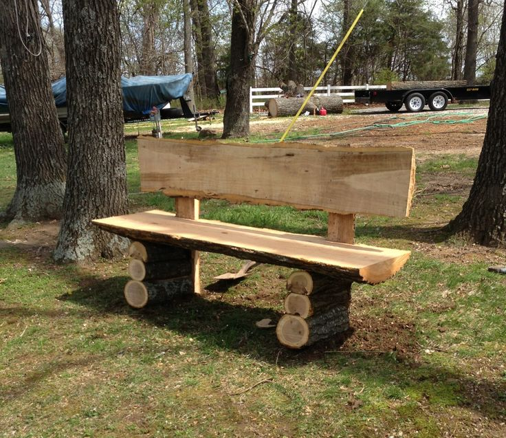 Country Log Slab Bench; Log Wood Projects