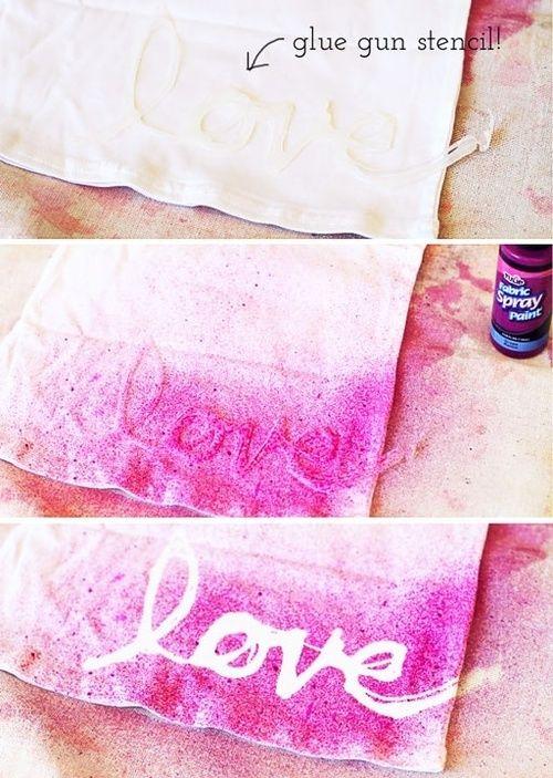 mommo design - PINK DIYs - glue gun stencil