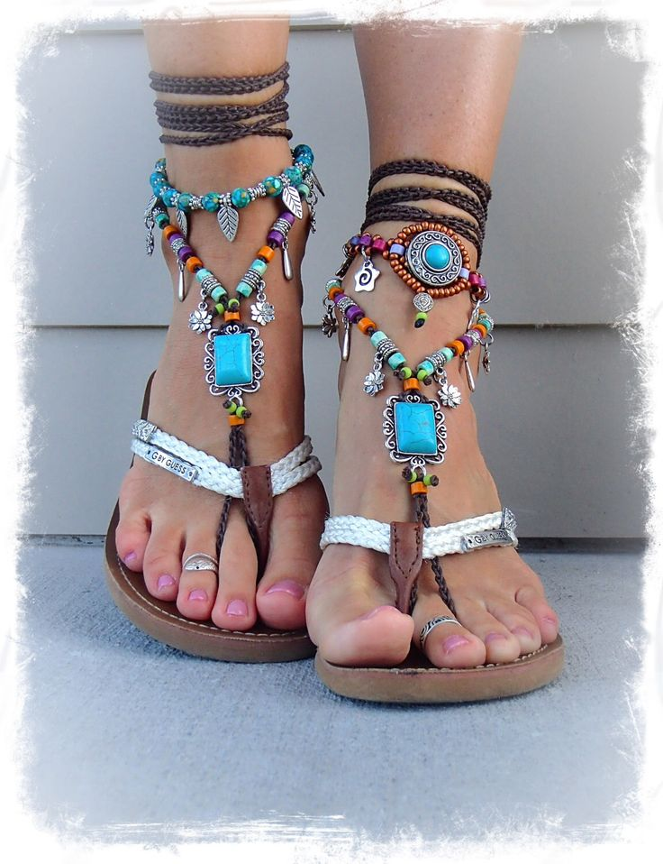 Turquoise Boho BAREFOOT Sandals FESTIVAL sandals Native Cowgirl Toe Thongs Statement foot wear sole less shoes crochet foot jewelry GPyoga by GPyoga on Etsy https://www.etsy.com/listing/174551089/turquoise-boho-barefoot-sandals-festival