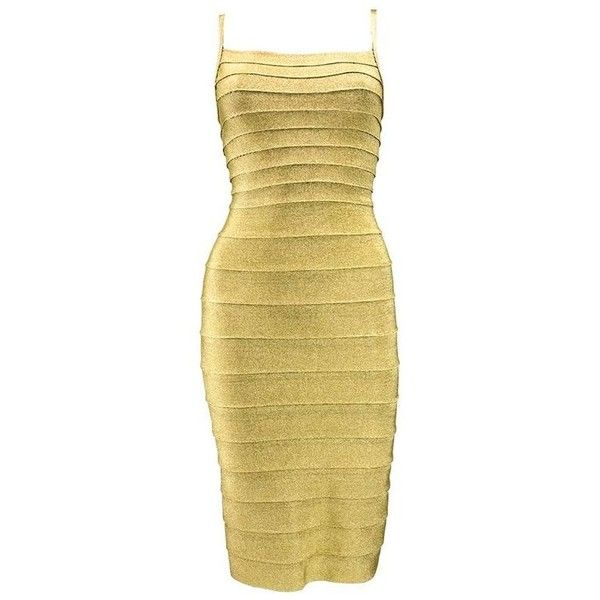 Preowned 1990s Herve Leger Classic Couture Gold Bandage Dress (€1.055) ❤ liked on Polyvore featuring dresses, cocktail dresses, multiple, beige dress, yellow gold dress, stretch dresses, stretchy dresses and stretch bodycon dress