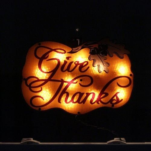 16 Lighted Give Thanks Pumpkin Thanksgiving Window Silhouette Decoration  Super #bright #bulbs, UL listed for indoor or #outdoor use, If one bulb burns out, the rest will stay lit  Features : Comes with replacement bulbs and spare fuses *Contains 1 plug with end connector which allows you to stack multiple lighted items together (not to exceed 210 watts)