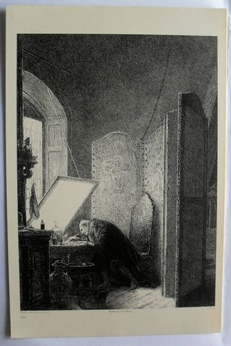 $24.99  THE ART Journal Steel Engraving Print Rembrandt IN HIS Studio BY P A Rajon   eBay