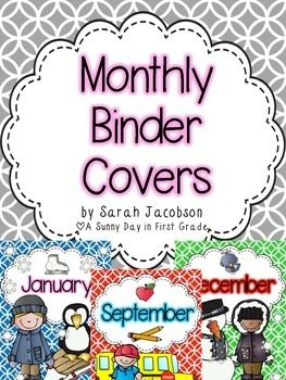 "***Updated May 2015*** I have added covers and spines for each season!  Ready to get your files organized?!  This cute set of monthly binder covers will help get you motivated to do just that!!! :)All 12 months are included.  November has a few choices :)I also included a ""Back to School"" cover!Matching 1.5 inch AND 2 inch spines are available for each cover.Please see the preview for each monthly theme!I hope you love them!! :)You might also like these matching EDITABLE Binder Covers! :)"