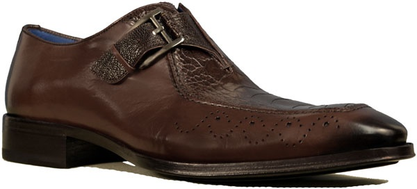 Slip on top quality and contemporary style in '3627-P' by Mezlan. Features a leather sole with a rubber island on the forepart and heel, full soft leather lining, a cushioned leather footbed, and leather uppers with an adjustable monk strap and genuine ostrich leather detailing. Made in Spain.