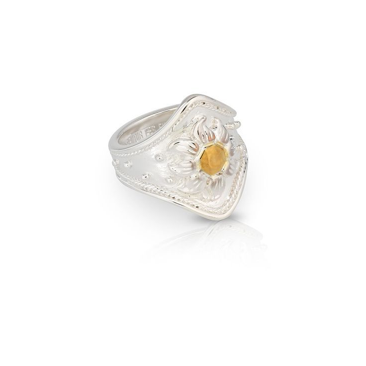 Silver cocktail statement ring with sun design in gold   DAWN RING   Sterling silver with gold accent   Au Revoir Les Filles   Click to Shop Now