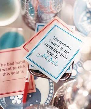 """Make light of New Year's resolutions by turning them into a guessing game. Give partygoers cards (download the New Year Playing Cards) and have guests finish the sentences with hopeful wishes―or tongue-in-cheek witticisms. Gather the cards, read them aloud randomly, then let the gang try to figure out who wrote what.  Print cards with these fill-in-the-blanks: """"The bad habit I want to kick this year is ―――."""" """"The good deed I want to do this year is ―――."""" """"The person I want to be more like…"""