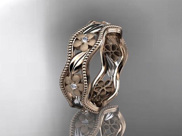 Custom Made 14kt rose gold diamond flower wedding ring,engagement ring,wedding band. ADLR 190
