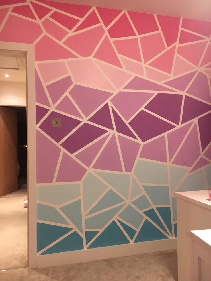Geometric Ombre Painted Wall Pink Purple Aqua Blue Paint Wall Paint Designs Girls Room Paint Bedroom Wall Paint