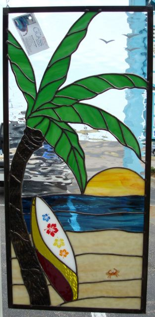 Stained Glass Palm Tree With Surf Board - Glass Gallery Stained Glass