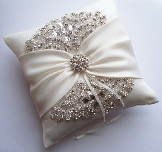 Wedding Ring Pillow Wedding Cushion with Rhinestone by JLWeddings