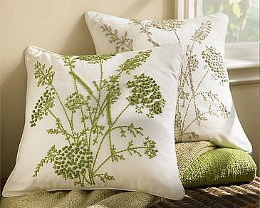 Queen Anne Embroidered Pillow Cover- Artful needlework creates a field of wildflowers on our pillow cover, with hand-embroidered French knots forming the frothy blossoms of Queen Anne's Lace.