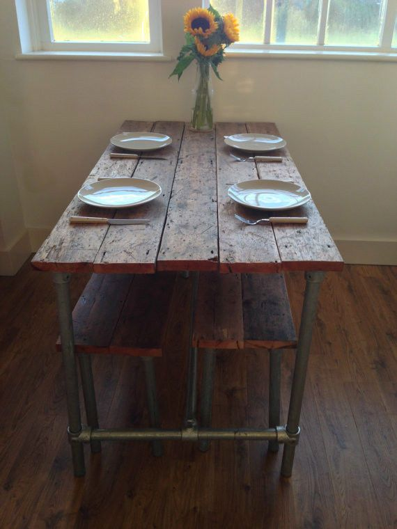 Reclaimed Wood Pipe Industrial Table And Two Benches On Etsy. Mimicing The  Pipe Table Into The Benches, I Love That! Should Be Easier To Make This To  The ...