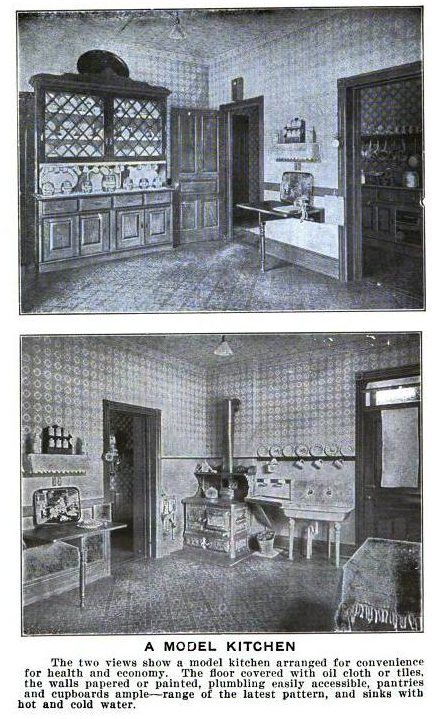 wandering if this is what my kitchen looked like in 1917...our house has this wide, dark trim still in the living room & dining room
