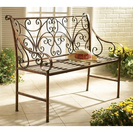 Antique Gold Iron Scroll Garden Bench