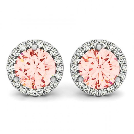2 Carat Morganite And Diamond Halo Stud Earrings 14k White Gold For Women 18k Or Platinum 6 5mm Christmas Gifts Her