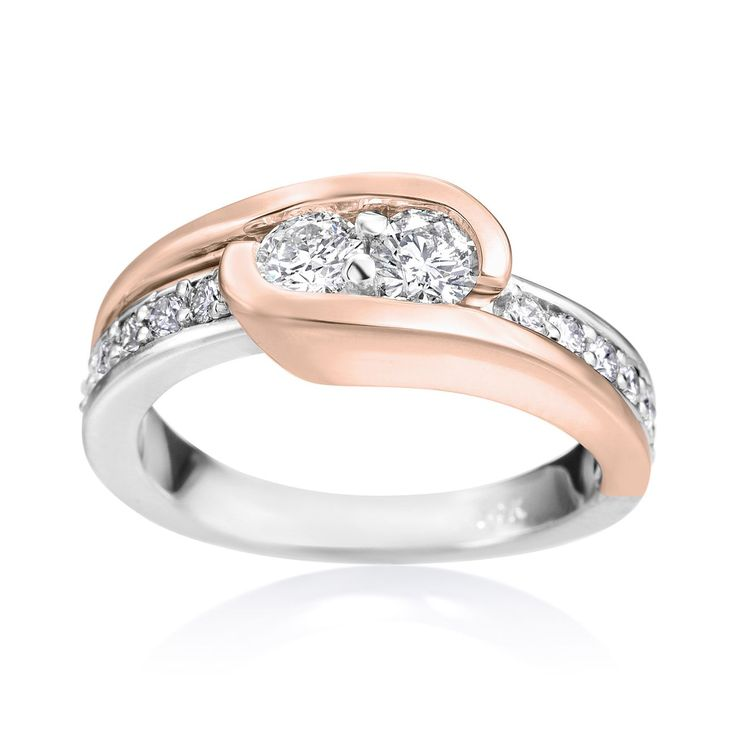 SummerRose 14k White and Rose Gold 3/4ct TDW Diamond Two Stone Ring (H-I, SI2-I1) (Size 6.5), Women's, Pink