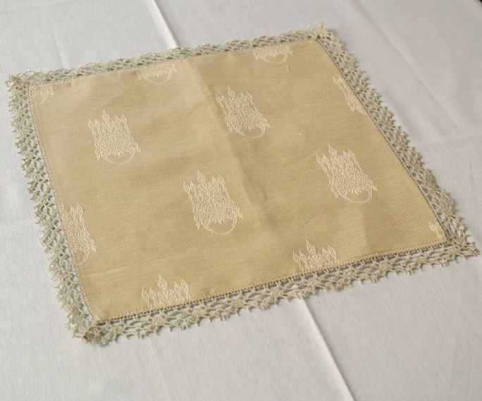 Lace Handkerchief 38 Melange of Il Gioiello Handkerchief or doily to use as a centerpiece or tray covers, product in blend fabric 50% cotton 50% linen