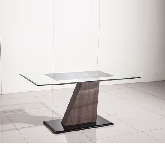Fabrize Dining Table In Glass Top With Walnut And Black Gloss