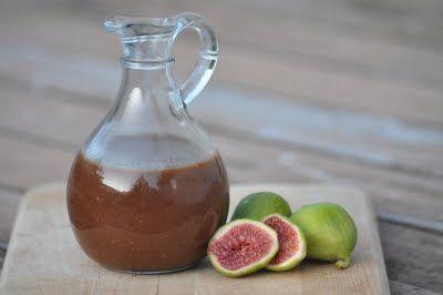 Fig-Balsamic Vinaigrette. Made with fresh figs (stems removed), good quality balsamic vinegar, maple syrup, sea salt or Herbamare, extra virgin olive oil, freshly ground black pepper.
