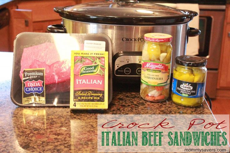 Italian Beef Sandwiches in the Crock Pot - SWOON!!!!  Gotta try this!  I miss my Chicago Italian beef!