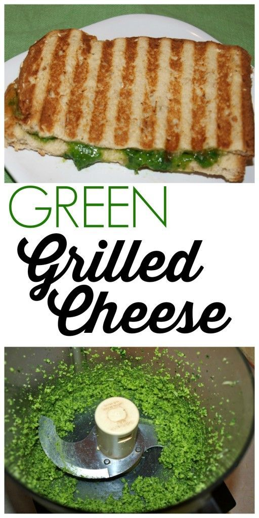 cheese meets spinach in this decadent GREEN Grilled Cheese! A fun way to get the kids to eat more greens and adults love this too! Fantastic healthy quick and easy lunch recipe.
