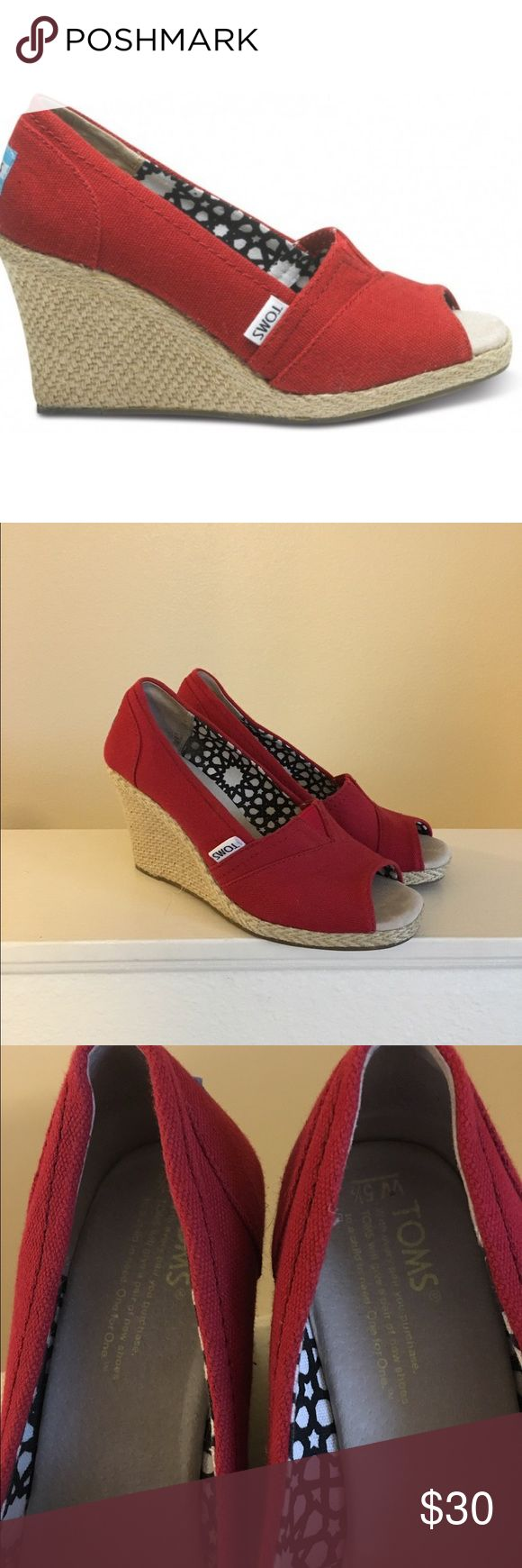 Red Tom's Wedges Size 5.5 red toms peep toe wedges with straw heel. Gently used, authentic. Open to offers; bundles discounted! TOMS Shoes Wedges