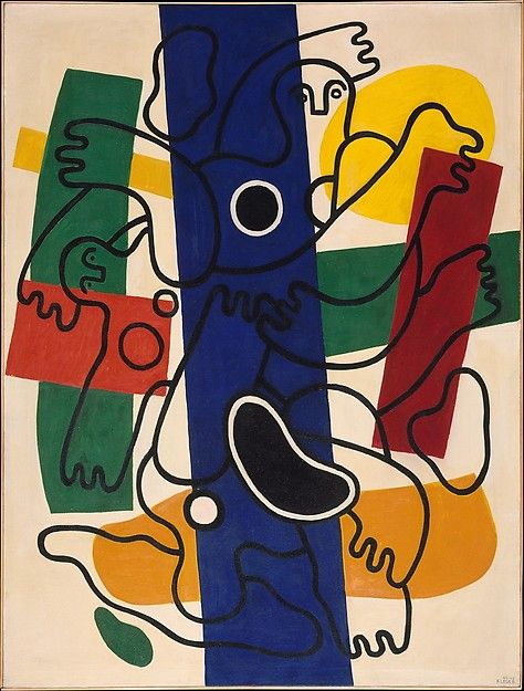 """Entangled figures plunge into broad swatches of color like swimmers in a crowded pool. The inspiration for """"Divers"""" dates to 1940, while Léger was in Marseille awaiting passage to the United States, where he would stay until the end of World War II"""