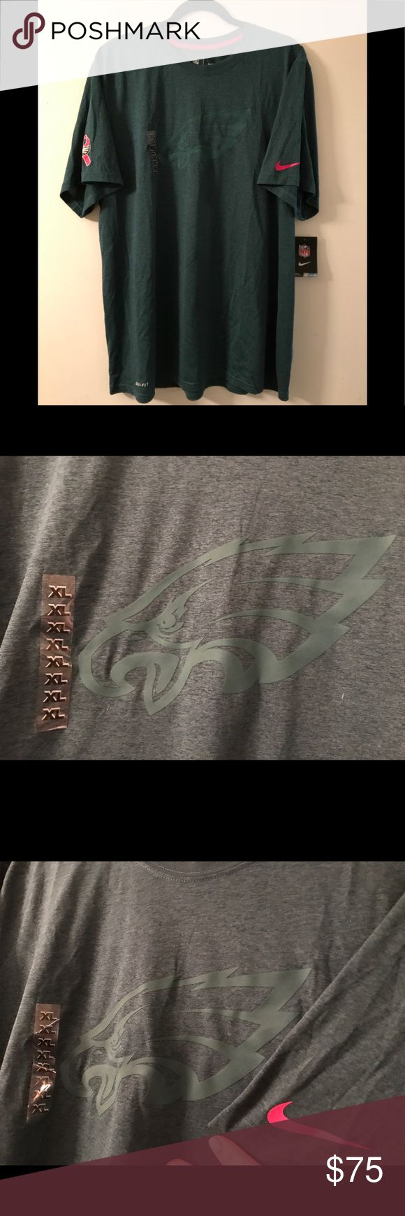 NIKE Philadelphia Eagles special edition tee Super Bowl champs 2018 Philadelphia Eagles short sleeve dri-fit with special edition breast cancer pink ribbon on right sleeve & pink whoosh on left sleeve. Authentic NFL Team apparel. NWT! Nike Shirts Tees - Short Sleeve