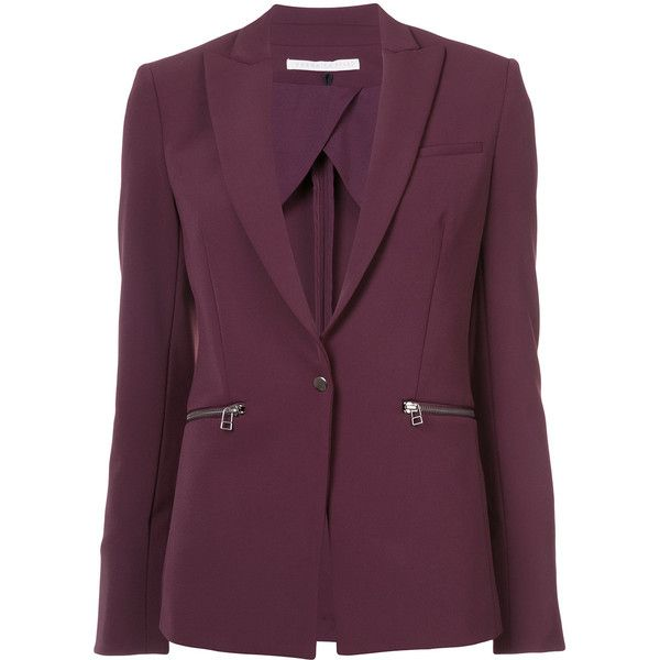 Veronica Beard zip pocket blazer ($600) ❤ liked on Polyvore featuring outerwear, jackets, blazers, veronica beard blazer, veronica beard jacket, veronica beard, red blazer and purple jacket