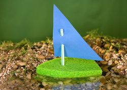"""Scripture:  Matthew 14:29 """"He said, """"Come.""""  So Peter got out of the boat and walked on the water and came to Jesus.""""; Snack:  Boat Jello; Craft:  Sponge Boat (Needed:  Sponges (cut one end into triangular shape), straws, and craft foam (cut into a right triangle), hole punch, hot glue (to seal bottom of straws.))"""