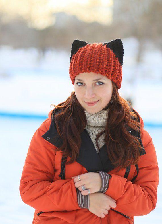Winter red fox hat with Black ears Knitting Handmade unisex adult Crochet  beanie gift idea animal fashion dog hat ear cat costume red kitten d5fceb011