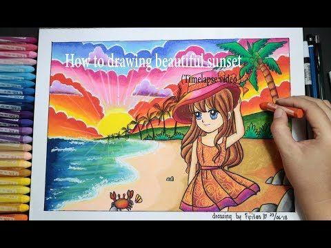 How To Draw Sun Set At The Beach Beautiful Scenery Cara Gradasi